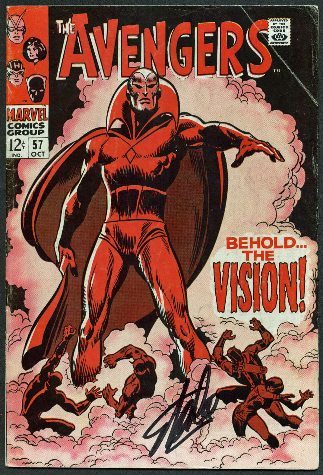 Stan Lee Authentic Signed The Avengers #57 Comic Book The Vision PSA/DNA #Z04183
