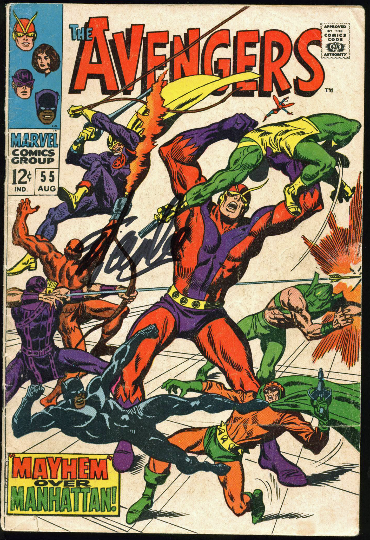 Stan Lee Authentic Signed The Avengers #55 Comic Book PSA/DNA #Z05348