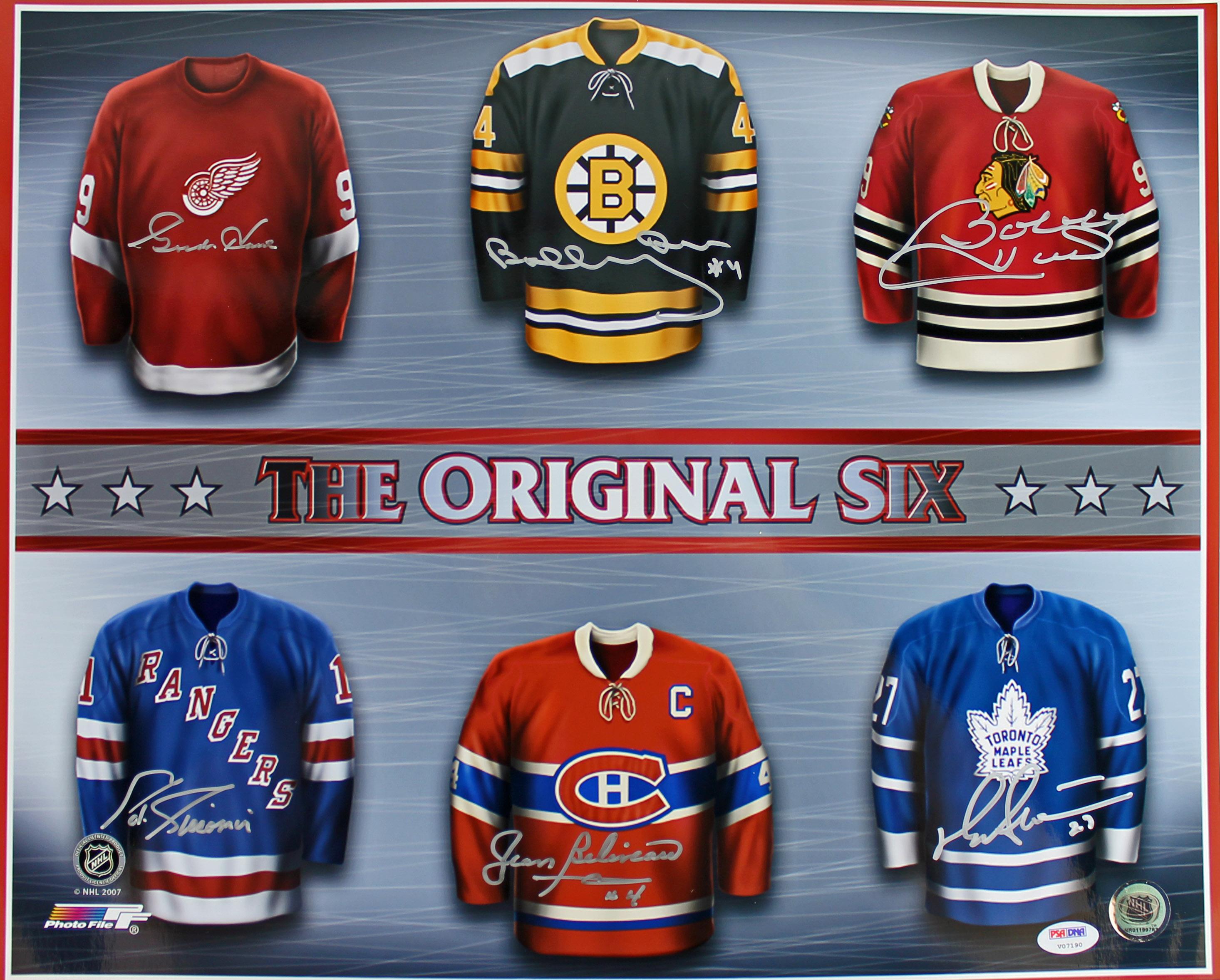 6 NHL HOFers (Bobby Orr & Gordie Howe plus 4) Signed 16X20 Photo PSA/DNA