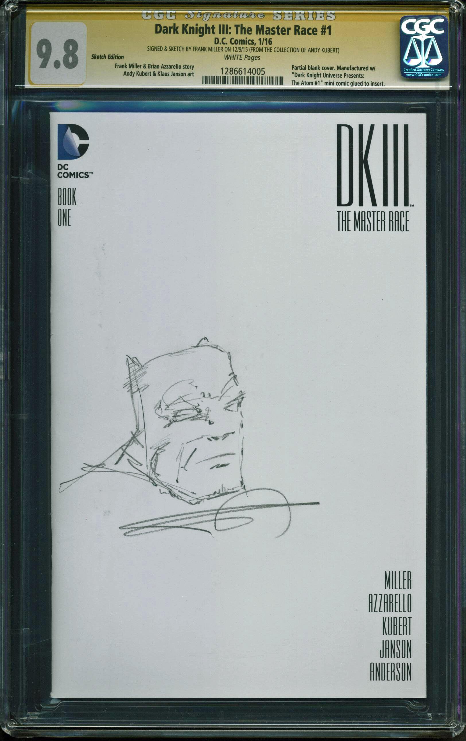 Frank Miller Signed Batman Dark Knight III The Master Race #1 w/ Sketch CGC 9.8