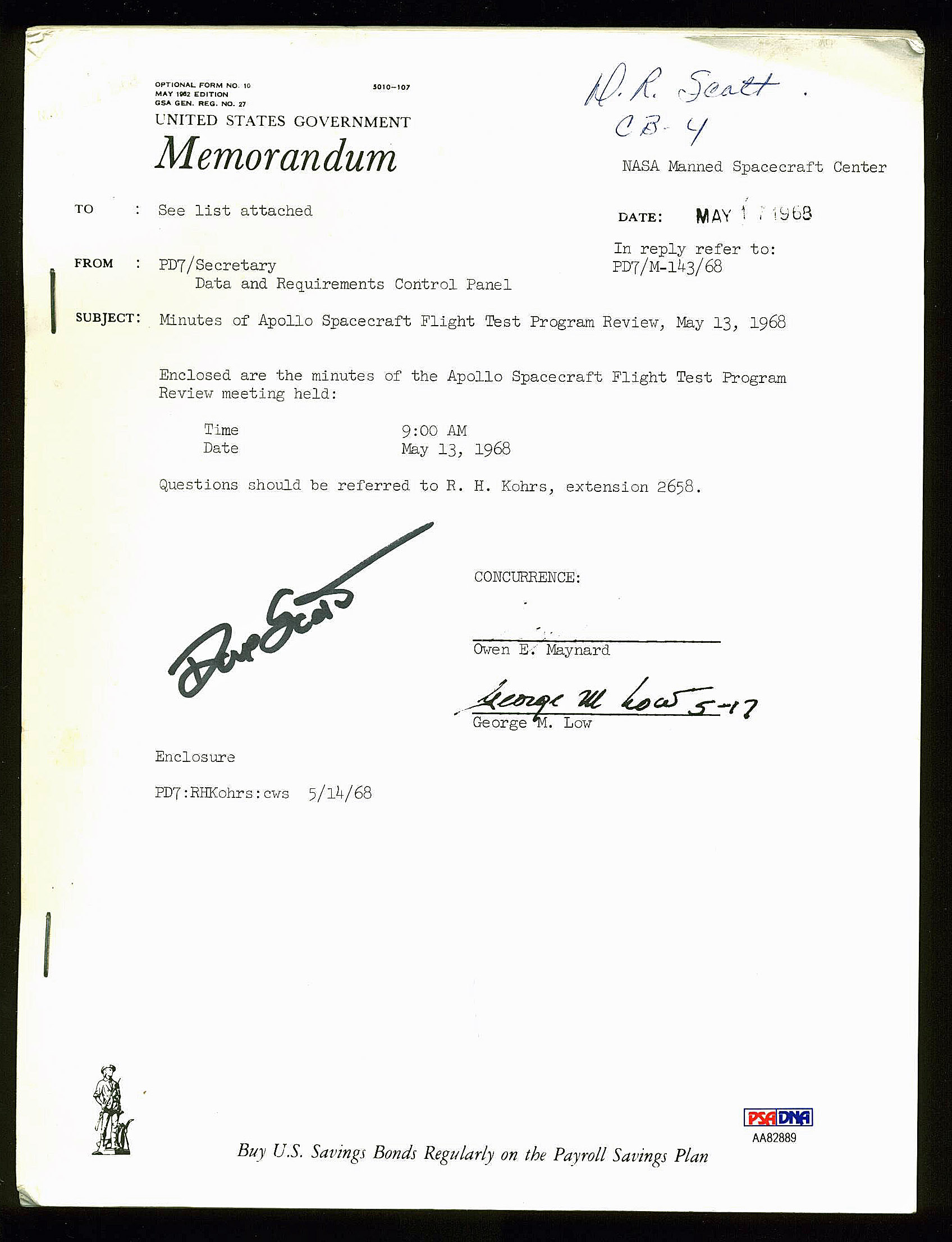David Scott Authentic Signed Used 1968 Apollo Spacecraft Review PSA/DNA #AA82889