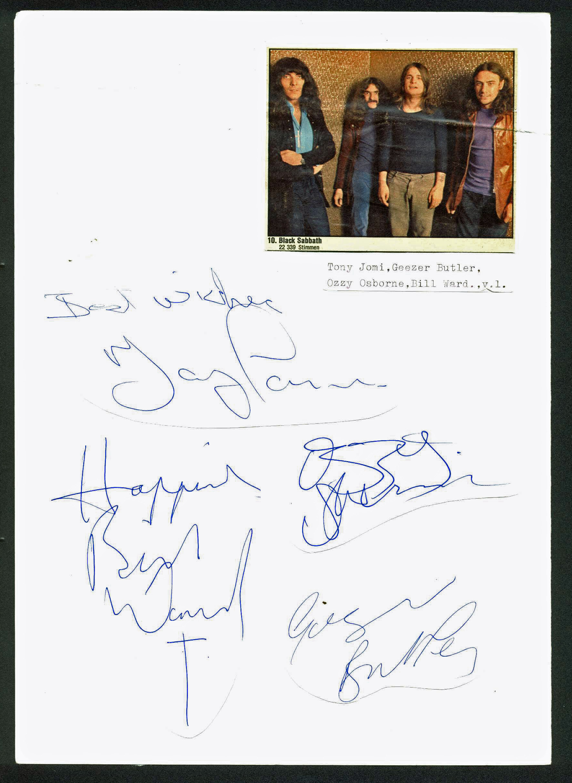 Black Sabbath (Ozzy Osbourne + 3) Signed 8.25x12 Cut Display PSA/DNA #AB06385
