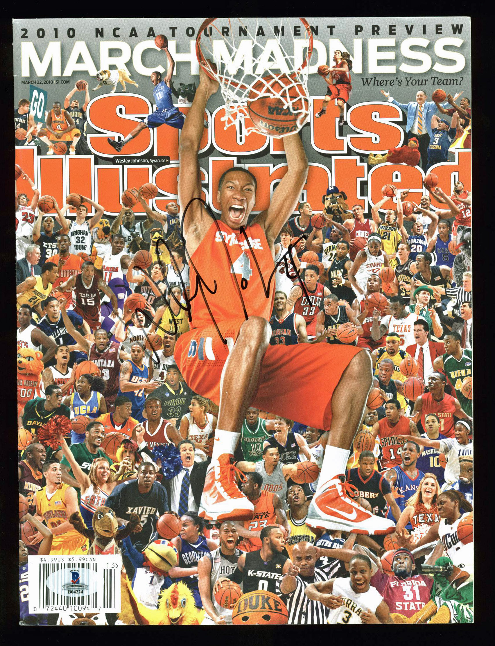 Syracuse Wesley Johnson Signed Sports Illustrated 2010 Magazine BAS #B04224