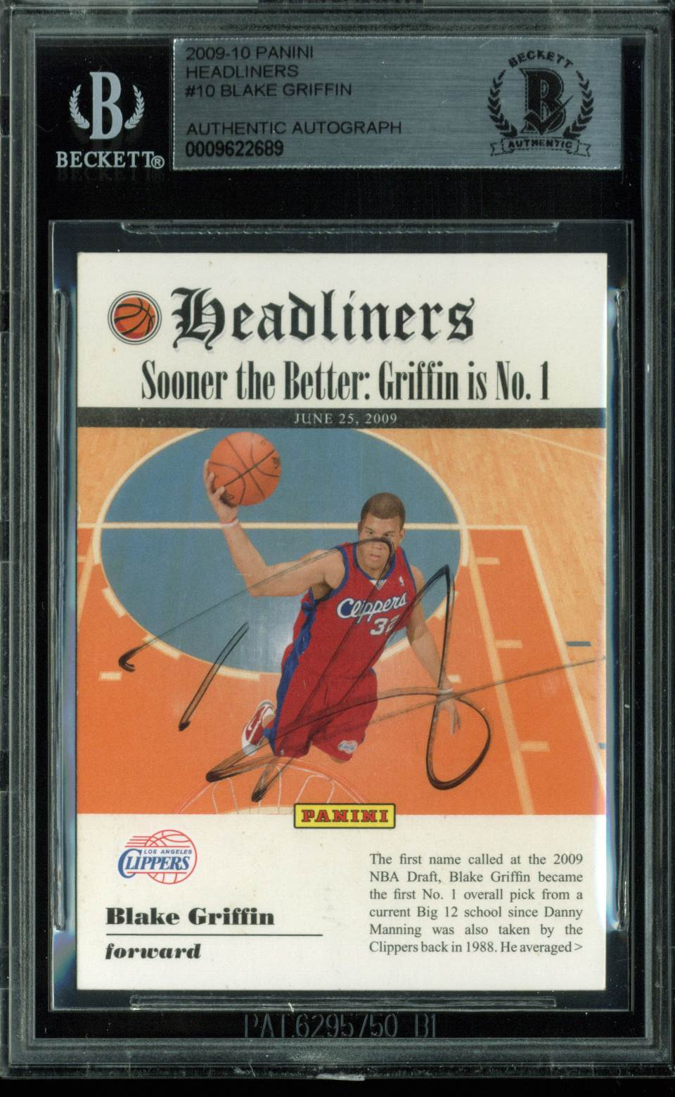 Clippers Blake Griffin Signed Card 2009 Panini Headliners RC #10 BAS Slabbed