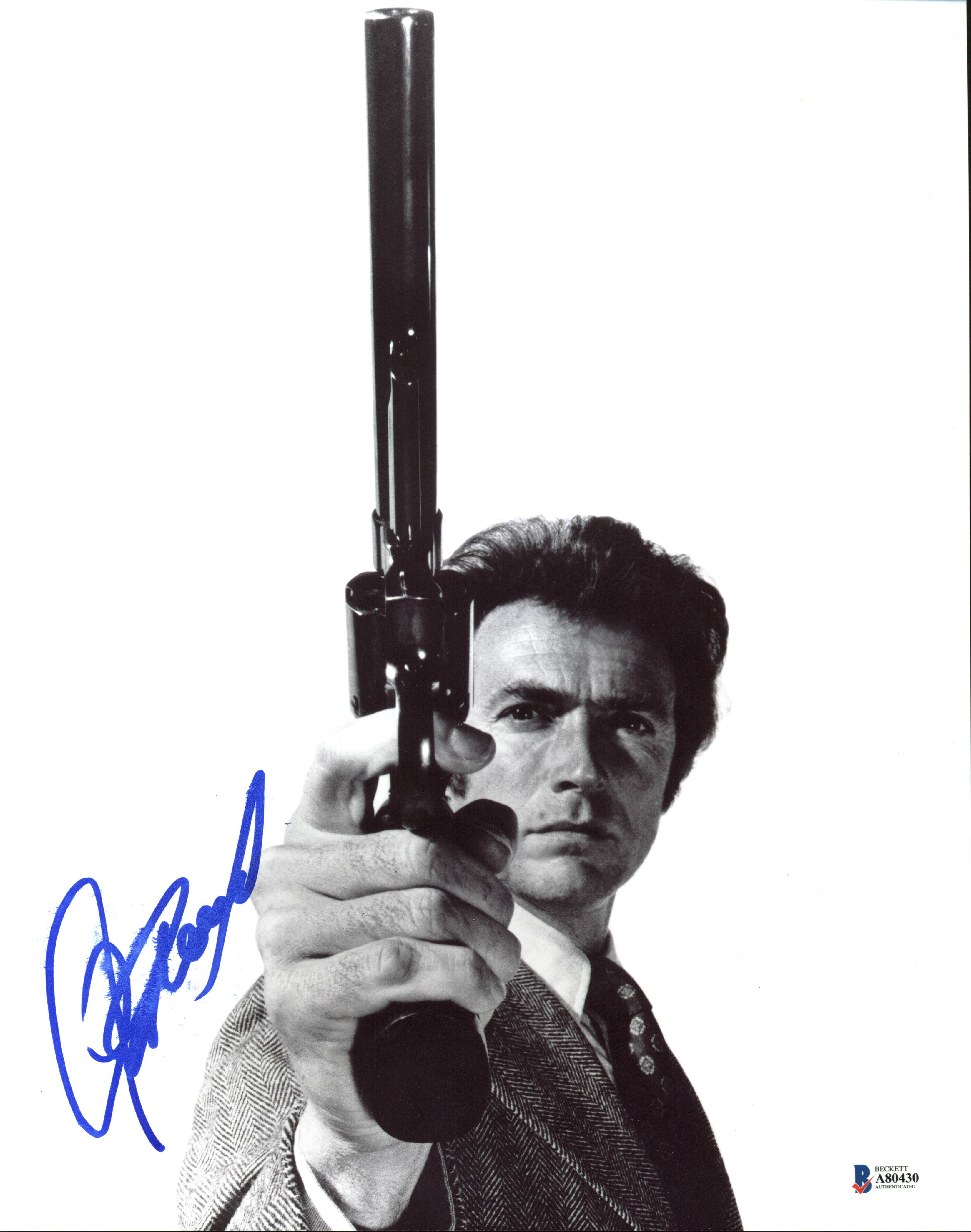 Clint Eastwood Dirty Harry Authentic Signed B & W 11X14 Photo BAS #A80430