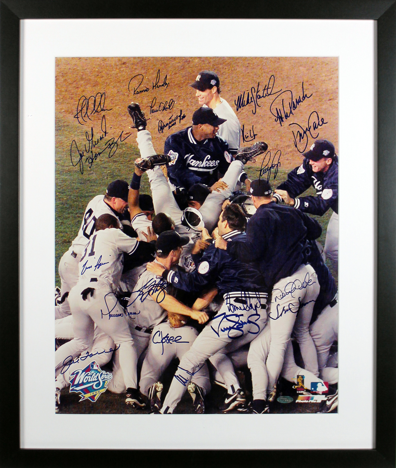 1998 Yankees (21) Jeter, Rivera, Torre Signed & Framed 16X20 Photo BAS #A03664